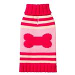 Striped Bone Turtleneck Dog Sweater by Fab Dog - Pink