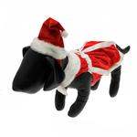 View Image 1 of Velvet Santa Girl Dog Dress w/ Hat & Leash