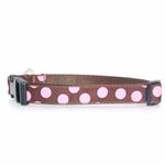 View Image 1 of WaLk-e-Woo Pink Dot on Brown Dog Collars