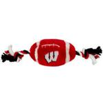 View Image 1 of Wisconsin Badgers Plush Football Dog Toy