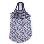 View Image 2 of Zack & Zoey Floral Denim Ruffle Dog Tank