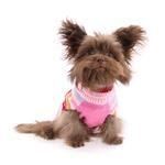 View Image 4 of Zack and Zoey Multi Stripe Bow Dog Sweater - Pink