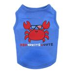 Zack & Zoey Red, White, 'N' Cute UPF 40 Dog Tank - Blue