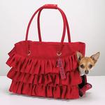 View Image 5 of Zack & Zoey Ruffle Pet Carrier - Red