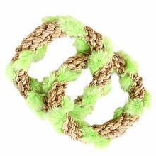 ABACA-DABRA 2 Circle Tug Dog Toy from WaLk-e-Woo - Natural
