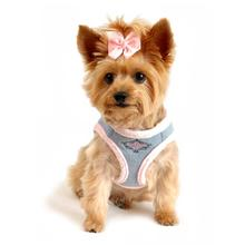 American River Choke Free Dog Harness - Washed Blue Jean and Pink Minky Fur