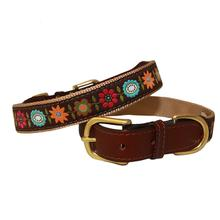 American Traditions Leather and Ribbon Dog Collar - Bella Floral