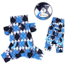 Argyle Fleece Turtleneck Dog Pajamas by Klippo - Black and Blue