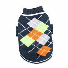 Argyle Pattern Turtleneck Dog Sweater from Klippo - Navy