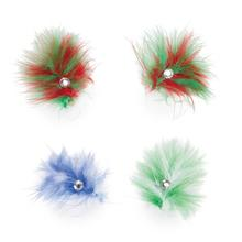 Aria Holiday Feather Dog Bows