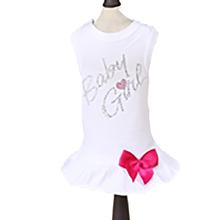 Baby Girl Dog Dress - White with Pink Bow