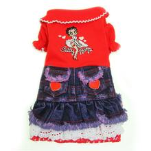 Betty Boop Lace Heart Denim Dog Dress