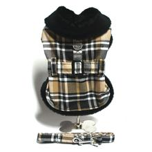 Plaid Fur-Trimmed Dog Harness Coat by Doggie Design- Camel and Black
