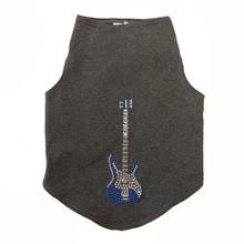 Blue Studded Guitar Dog Tank by Daisy and Lucy - Dark Heather Gray