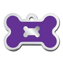 Bone Large Engravable Pet I.D. Tag - Chrome and Purple