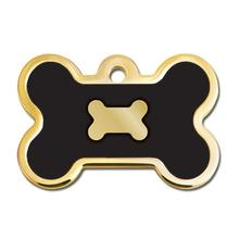 Bone Large Engravable Pet I.D. Tag - Gold and Black