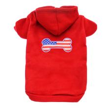 Bone Shaped American Flag Dog Hoodie - Red