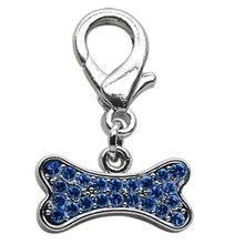 Bone Shaped Crystal Dog Collar Charm - Blue
