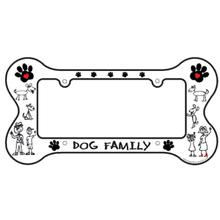Bone Shaped License Plate Frame - Dog Family