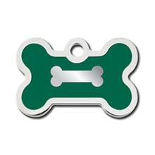 Bone Small Engravable Pet I.D. Tag - Chrome and Emerald Green