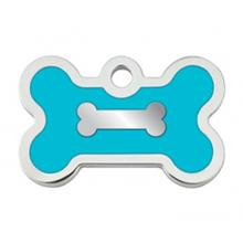 Bone Small Engravable Pet I.D. Tag - Chrome and Turquoise