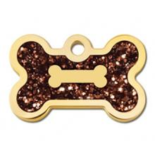 Bone Small Engravable Pet I.D. Tag - Gold and Bronze Glitter