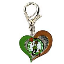 Boston Celtics Swirl Heart Dog Collar Charm