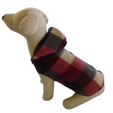 Buffalo Plaid Hooded Dog Pullover - Black and Burgundy