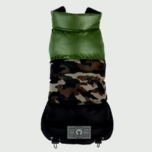 Camo Colorblock Puffer Dog Coat by Fab Dog