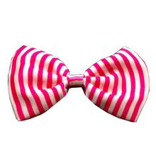 Candy Stripe Dog Bow Tie - Pink