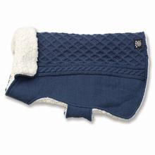 Carle's Cable Dog Sweater Jacket - Navy