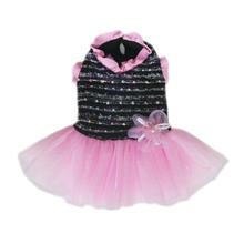 Caroline Party Dog Dress - Black and Pink
