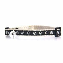 Casual Kitty Two Tone Pawprint Cat Collar - Black