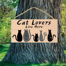Cat Lovers Live Here Wood Sign