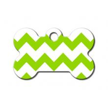 Chevron Bone Small Engravable Pet I.D. Tag - Green