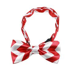 Chevron Dog Bow Tie - Red