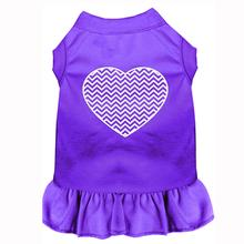 Chevron Heart Screen Print Dog Dress - Purple