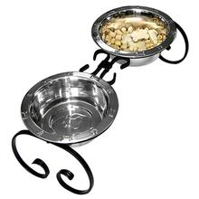Classic Wrought Iron Dog Diner with Stainless Steel Bowls - Black