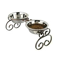 Classic Wrought Iron Dog Diner with Stainless Steel Bowls - Copper
