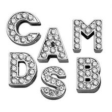 Clear Bling Lettering Slider Charms from A-Z - 10MM
