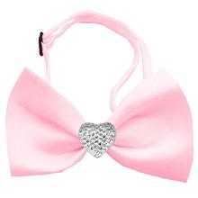 Clear Crystal Heart Chipper Dog Bow Tie - Light Pink