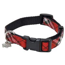 Coastal Plaid Holiday Dog Collar - Red and Black