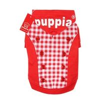Combo Gingham and Button Dog Hoodie by Puppia - Red