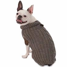 Corbin's Cable Dog Sweater - Gray
