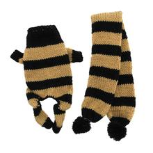 Cozy Knitted Dog Jumper with Scarf - Black and Tan Stripes