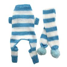 Cozy Knitted Dog Jumper with Scarf - Blue and White Stripes
