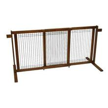 Crown Tall Freestanding Pet Gate with Security Arms - Chestnut Brown