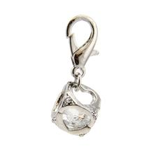 Crystal Cube D-Ring Pet Collar Charm by FouFou Dog - Clear