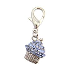 Crystal Cupcake D-Ring Pet Collar Charm by FouFou Dog - Blue
