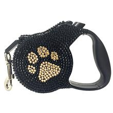 Crystal Retractable Leash - Gold Paw